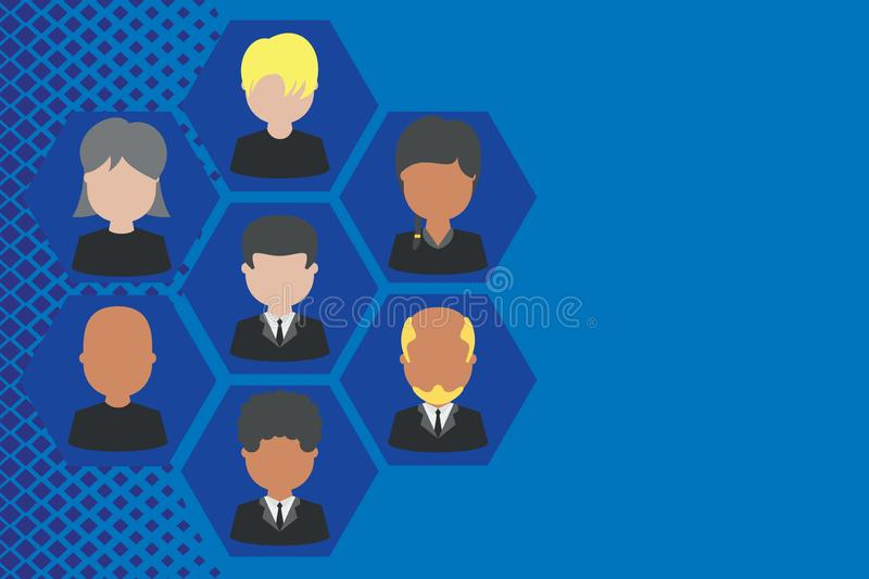 Picture frames chief executive and staff. Company working personnel. Organization Chart CEO employees. Team corporation. Pictures frames chief executive and stock illustration