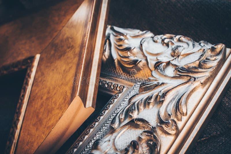 Vintage wooden frames stock image