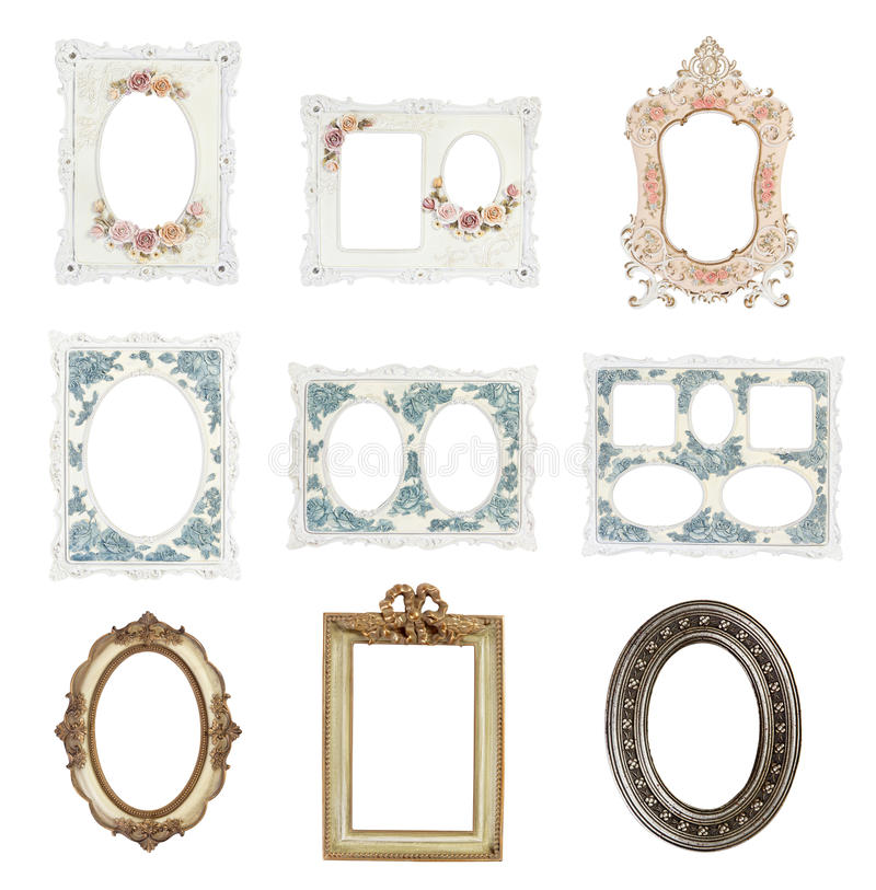 Picture frames isolated on white background stock photos