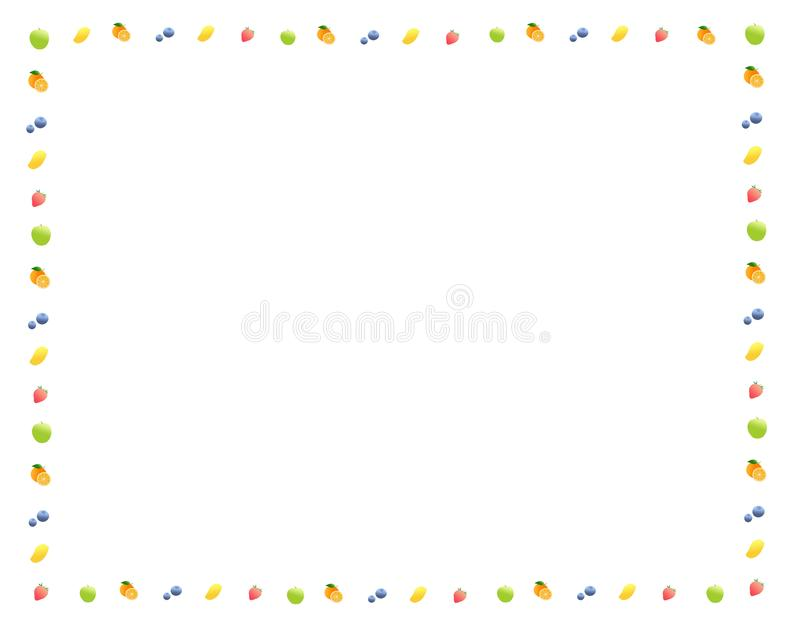 Picture frames made from fruit, apples, strawberries, blueberries, oranges, mangoes on a white background stock illustration