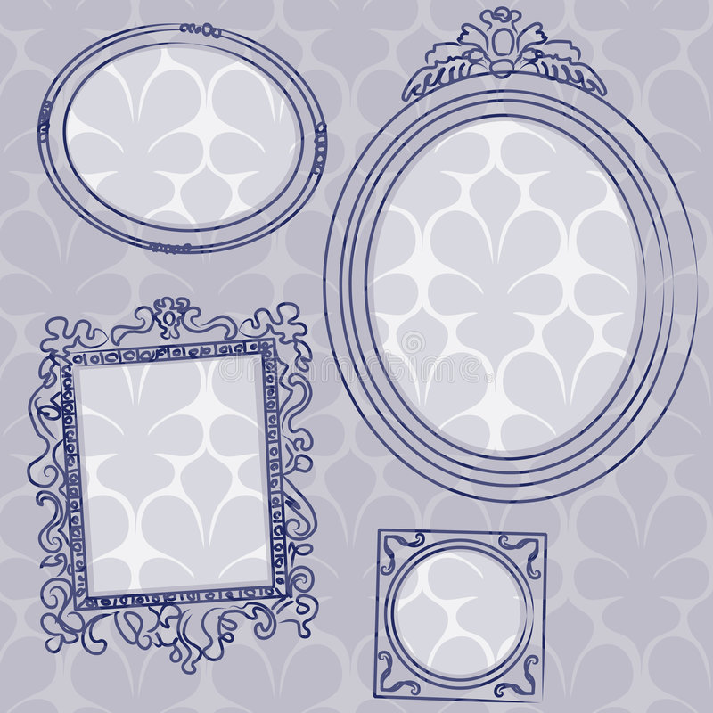 Picture frames on the wall. Four ancient picture frames hanging on the wall if you are interested, see also: single picture frame on blue background illustration stock illustration