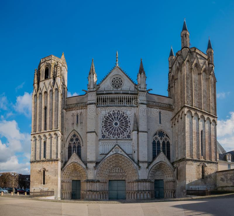 Saint Peter Cathedral. A picture of the front facade of Saint Peter Cathedral Poitiers stock image