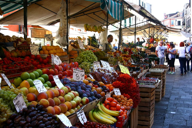 Picture of fruit market in Venice royalty free stock images