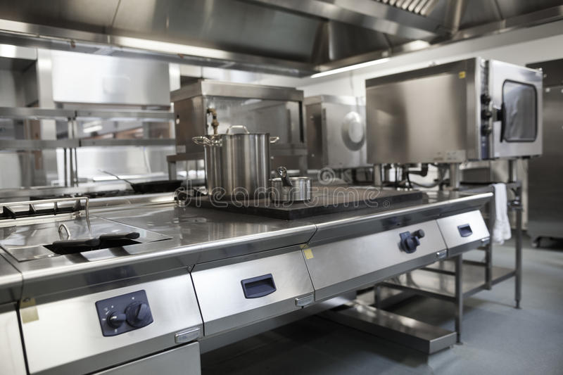 Picture of fully equipped professional kitchen stock images