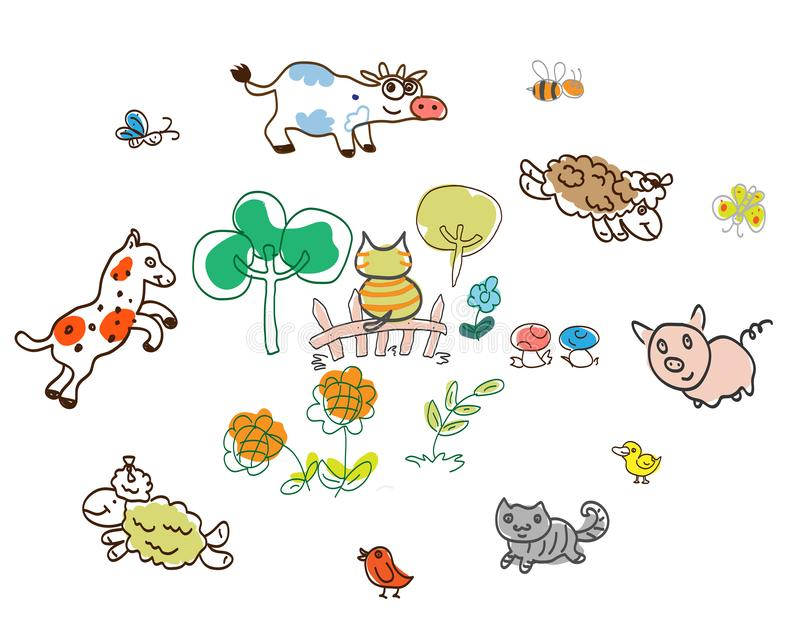 Picture with funny animals. Cats, horses, lambs, chickens, pigs and others play on the lawn. Picture with funny animals. Cats, horses, lambs, chickens, pigs and stock illustration