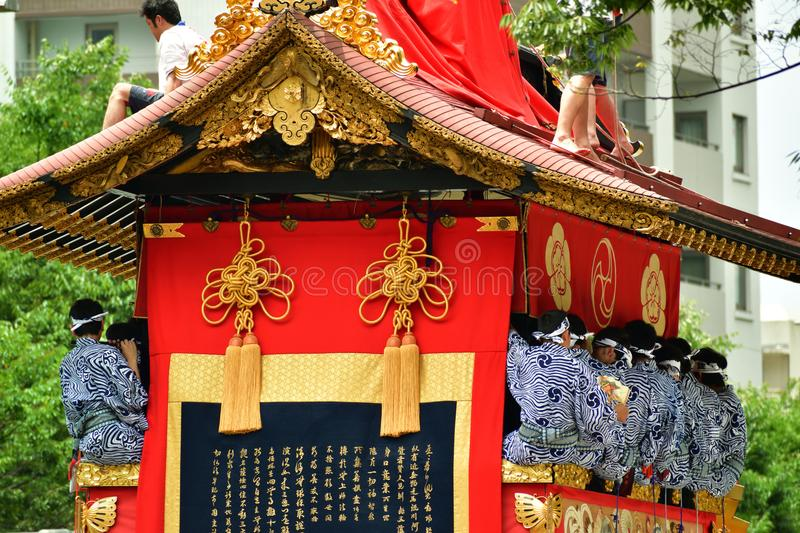 Gion Matsuri festival in Kyoto Japan. Picture of Gion Matsuri`s float with historic art decoration. famous event in summer Kyoto Japan stock photos