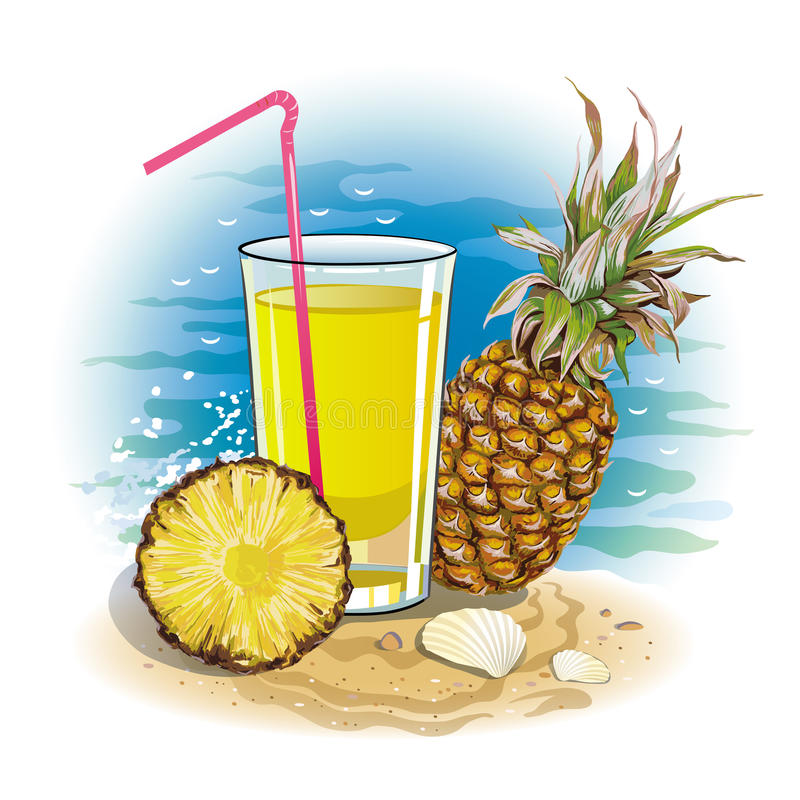Picture a glass of pineapple juice. Vector drawing of a glass of pineapple juice with pineapple fruit on the Sunny beach vector illustration
