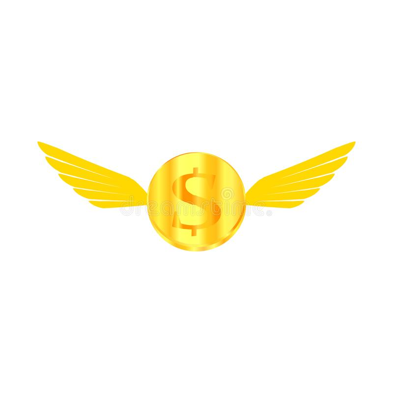 Picture gold coin in the air stock illustration