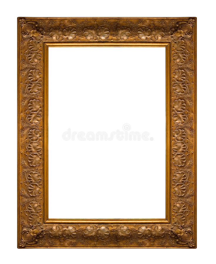 Picture gold frame. With a decorative pattern on white royalty free stock photos