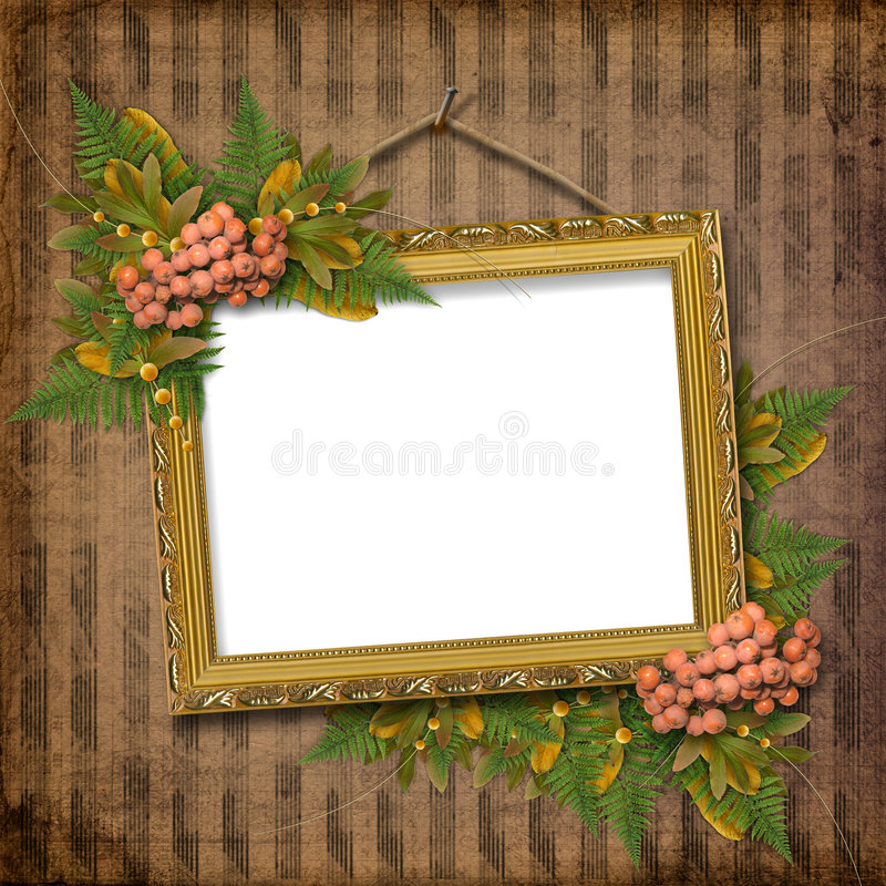 Picture gold frame with a decorative pattern stock illustration