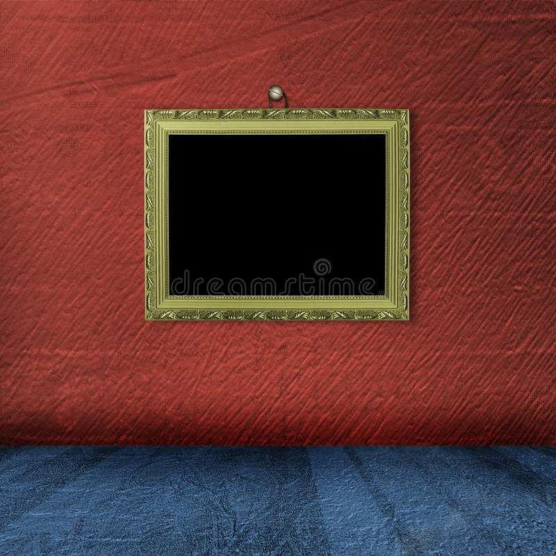Picture gold frame with victorian pattern stock illustration