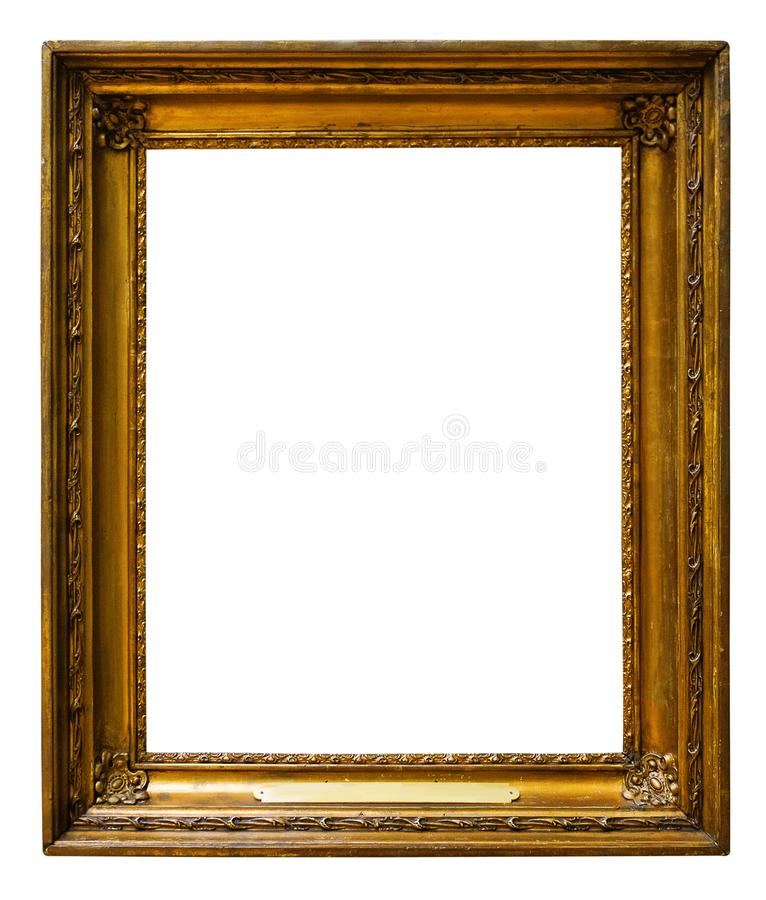 Picture gold wooden frame for design on isolated background. Picture gold wooden frame for design on white isolated background stock image