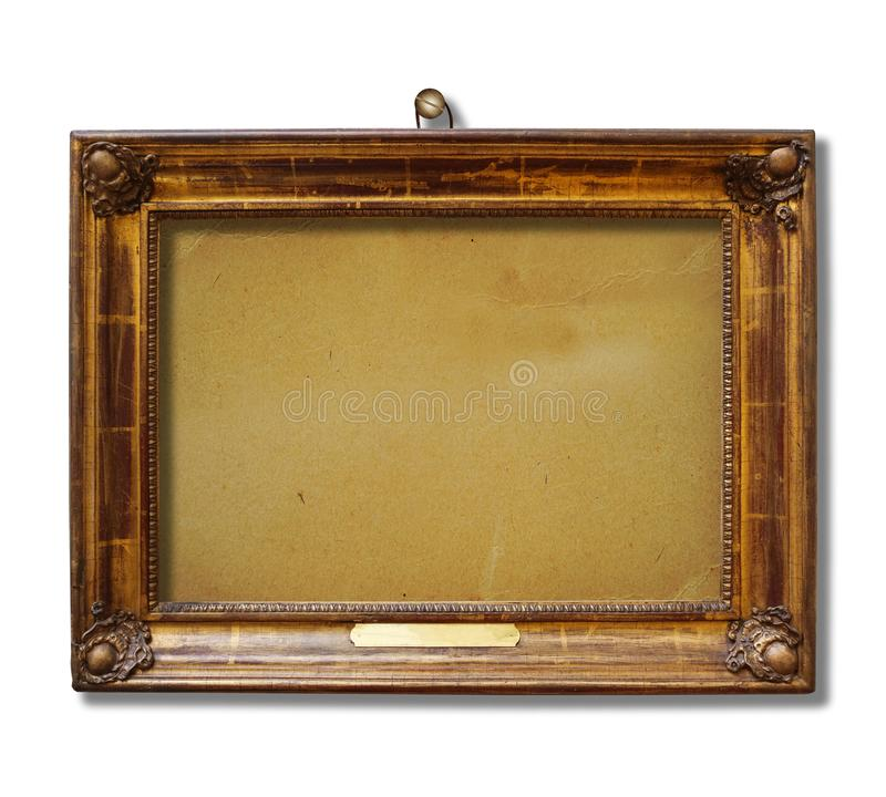 Picture gold wooden frame for design on white isolated background stock photos