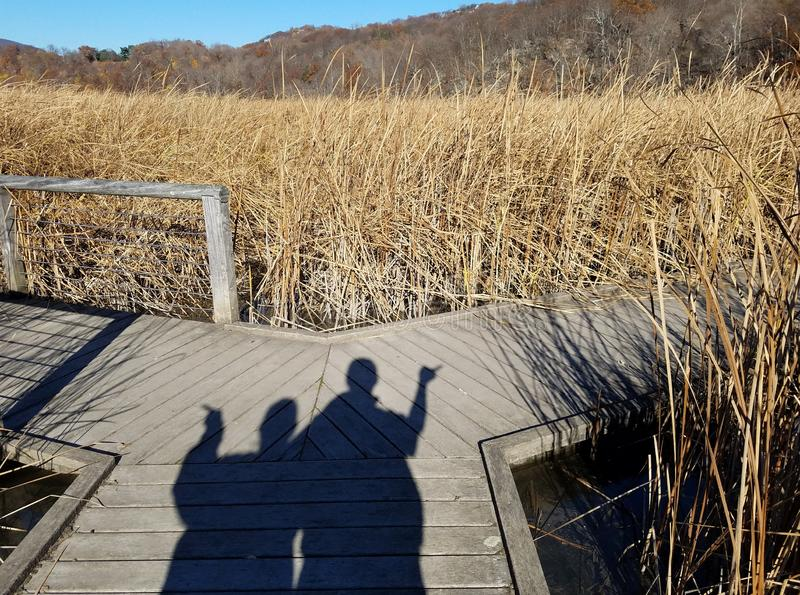 Shadows of two people pointing in different directions at a fork in a boardwalk. This picture is a graphic depiction of choice and decision or indecision royalty free stock images