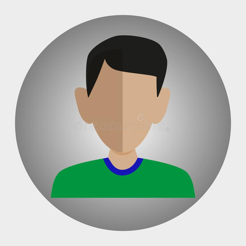 The picture is a guy, a young man. In a green T-shirt, a picture in a circle. Image for site, project, presentation, project stock illustration