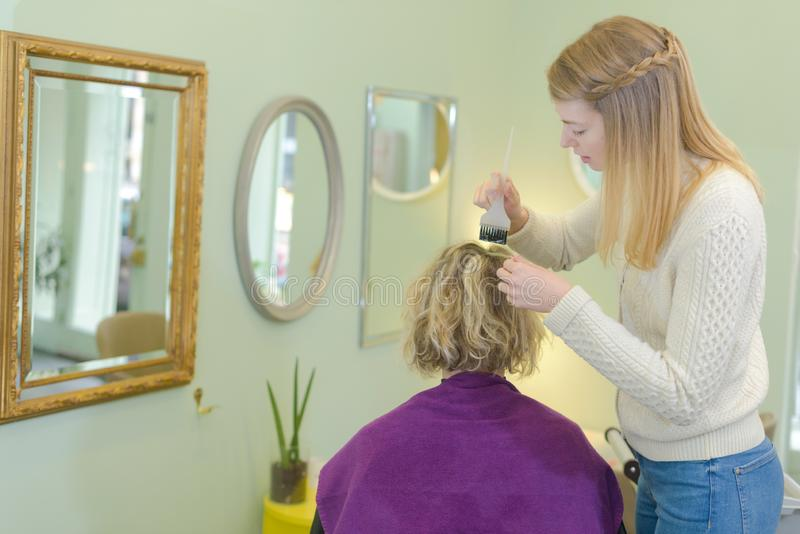 Picture on hair coloring process at home royalty free stock photo