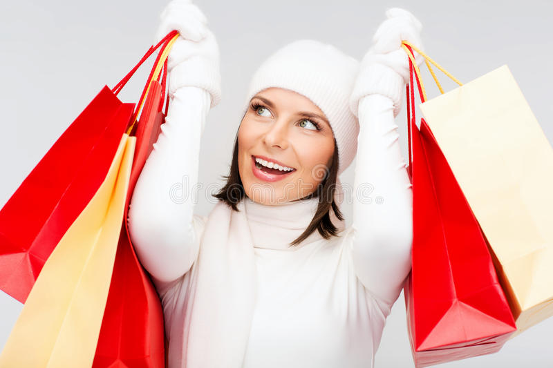 Download Picture Of Happy Woman With Shopping Bags Stock Photo - Image of mall, presents: 34395468
