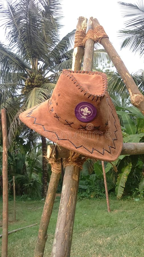 Hat with world scouts logo stock images