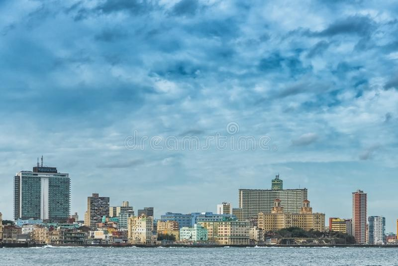Picture of Havana city, the capital of Cuba, with water and blue sky. Picture of Havana city, the capital of Cuba, with water and blue sky stock photography