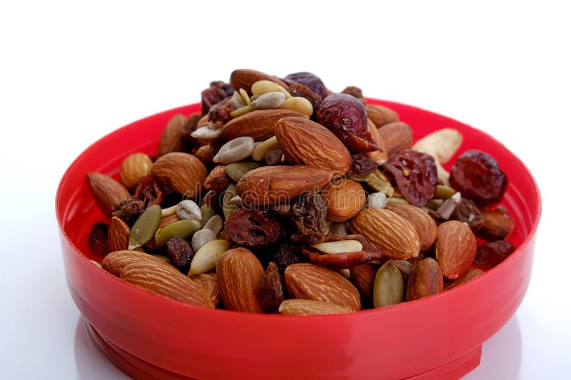 Healthy mixed nuts and dried fruits stock image