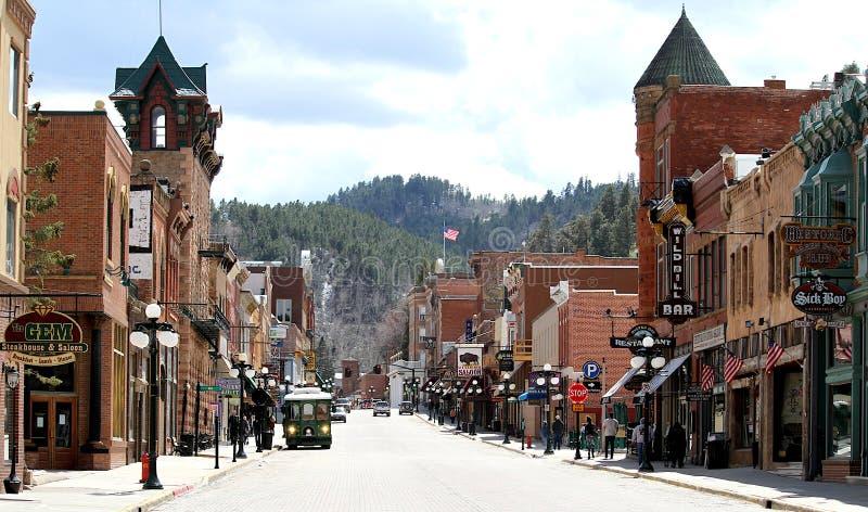 Historic Main Street Deadwood, South Dakota. stock photos