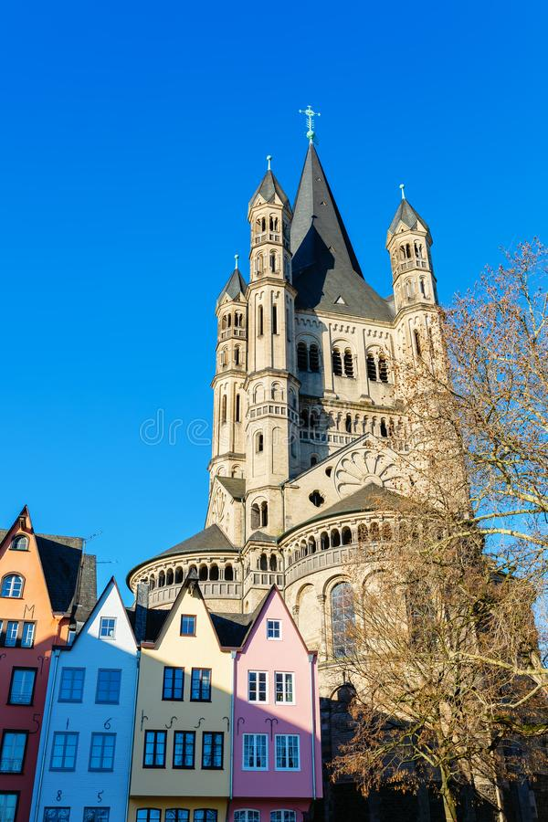 Historical church Gross St Martin in Cologne, Germany royalty free stock photos