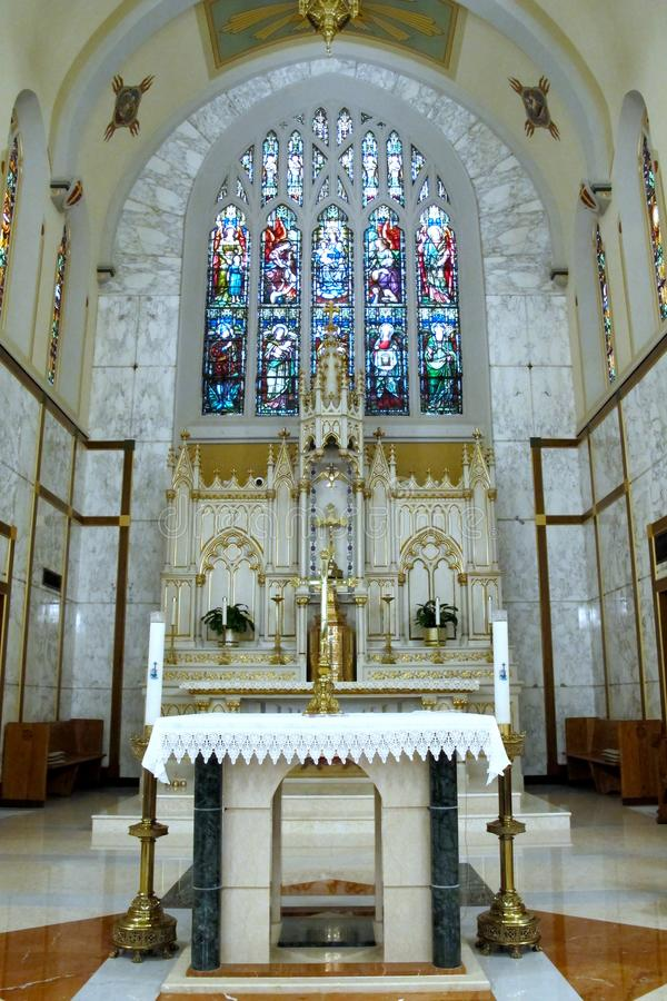 The Holy Alter at The Church of Mount Carmel, Queens stock photography