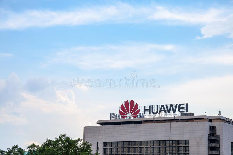 Huawei logo on their office for Serbia in Belgrade. Huawei Technologies is a Chinese networking and telecommunications company stock photography