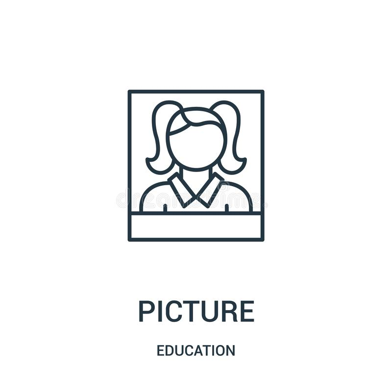 picture icon vector from education collection. Thin line picture outline icon vector illustration vector illustration