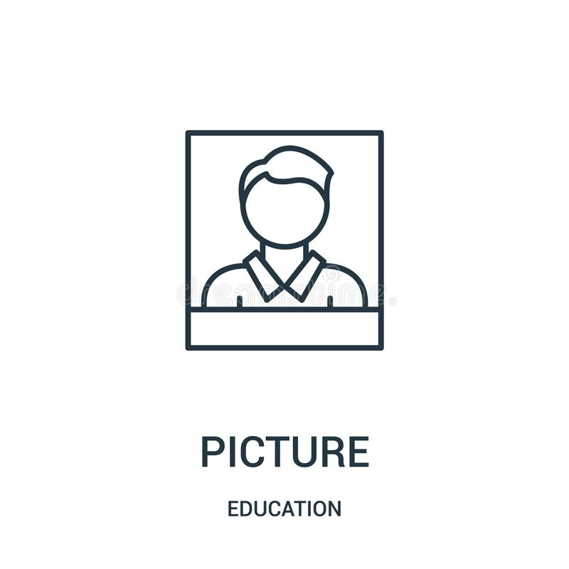 picture icon vector from education collection. Thin line picture outline icon vector illustration stock illustration
