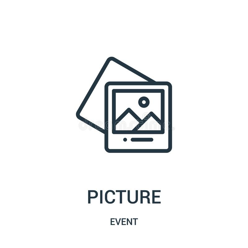 picture icon vector from event collection. Thin line picture outline icon vector illustration vector illustration