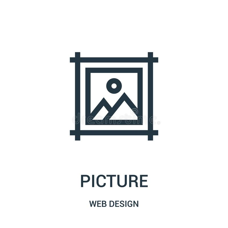 picture icon vector from web design collection. Thin line picture outline icon vector illustration royalty free illustration