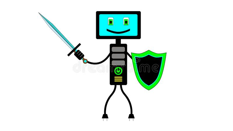 The computer is on guard of your data. A picture illustrating computer security. It can be useful for insertion into an article, as an illustration in a book on stock illustration