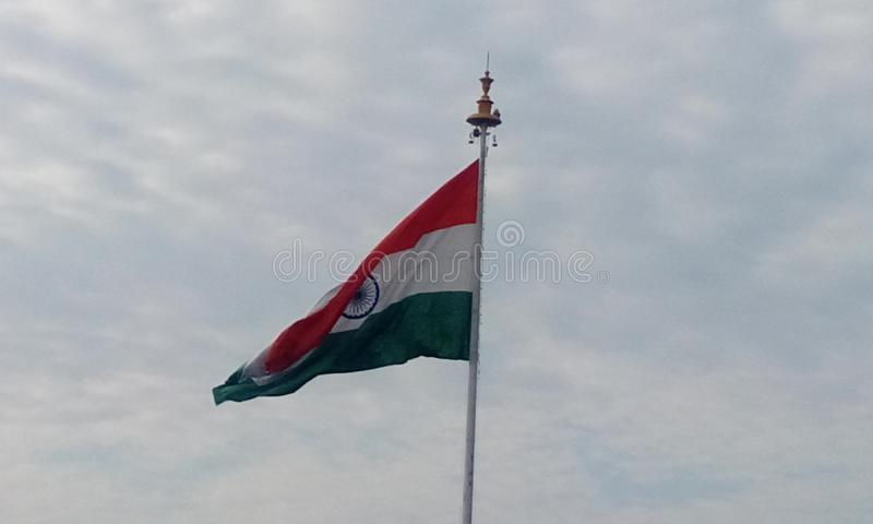 Country Flag of India and captured at chennai airport during travel. Picture of India country flag in a flagpole in front of chennai international airport as an royalty free stock images