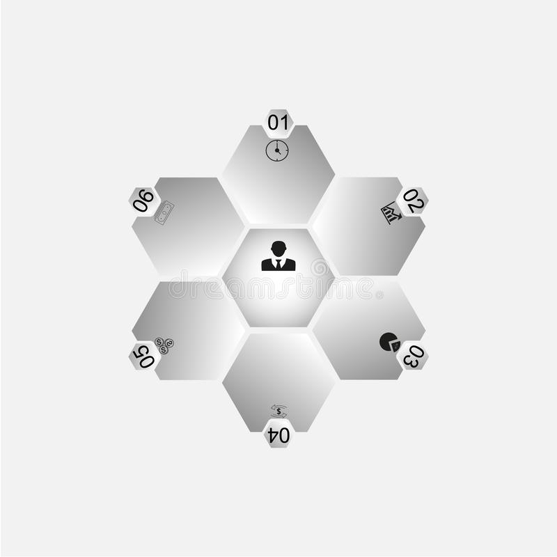 In the picture, an infographic of six hexagons stock illustration
