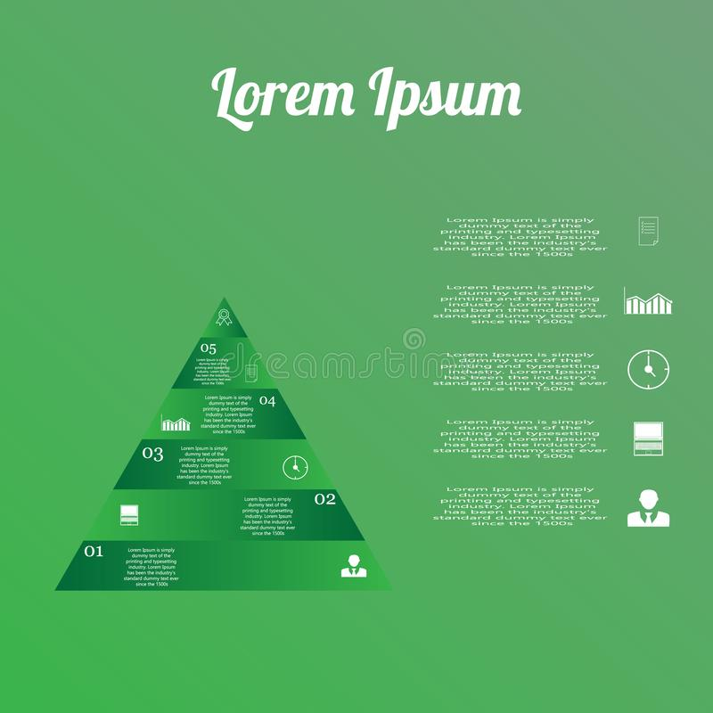 Infographics triangle with text icons. In the picture infographics of green in the form of a triangle, with text, icons. Infographics for business royalty free illustration