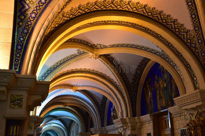 Picture of inside the famous The Basilica of Sainte-Anne-de-Beaupré in Quebec, Canada. stock photo