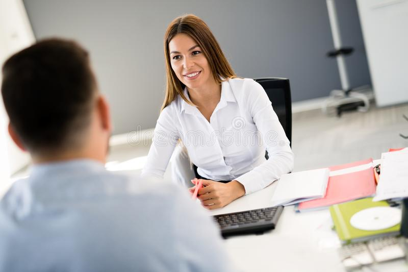 Picture of job interview in modern office royalty free stock photography