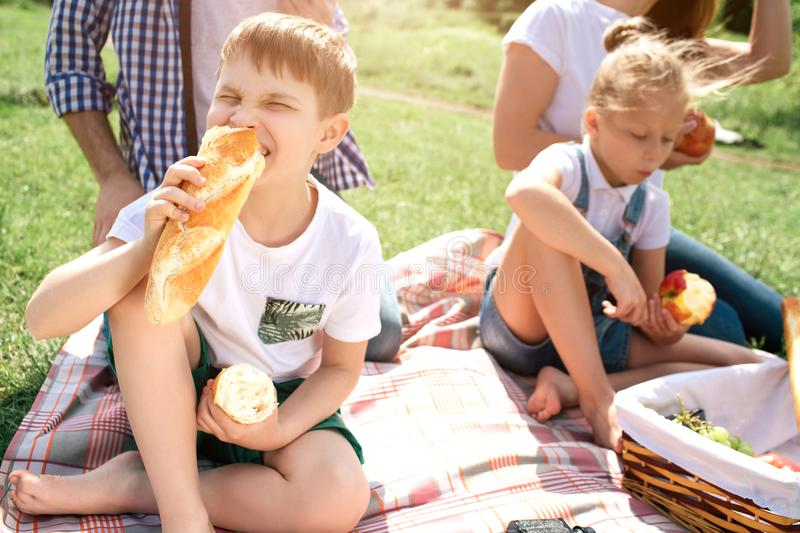 A picture of kids sitting on grass and eating food. Girl is eating an apple while boy is biting bread. Their parents are royalty free stock photography