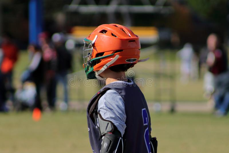 Lacrosse sticks on the field. Picture of lacrosse sticks on the field before the game stock images