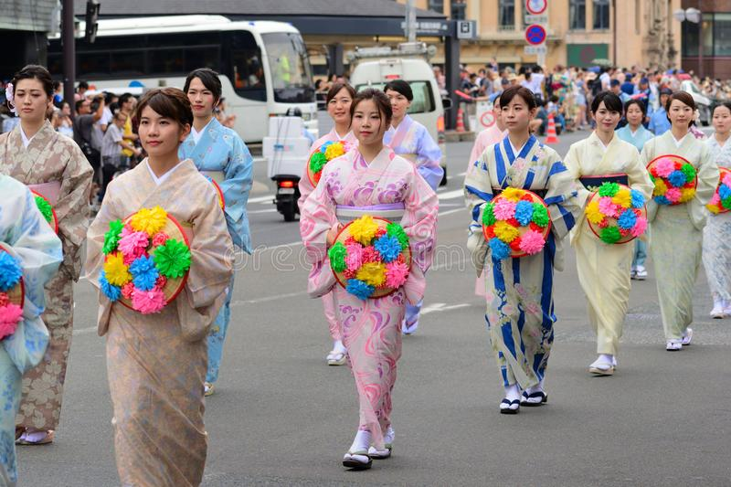 Ladies` parade of Gion festival, Kyoto Japan. royalty free stock images