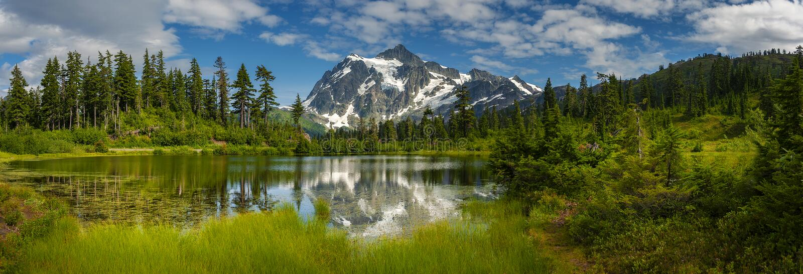 Picture Lake with Mt. Shuksan, Washington state. Picture Lake is the centerpiece of a strikingly beautiful landscape in the Heather Meadows area of the Mt royalty free stock photos