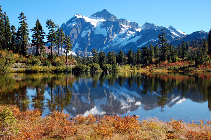 Picture Lake at Mt. Baker. Mt. Shuksan reflecting off of picture lake royalty free stock images