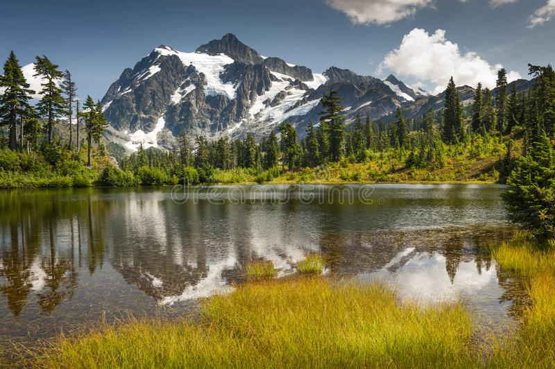 Picture Lake, Mt. Baker-Snoqualmie National Forest. Picture Lake is the centerpiece of a strikingly beautiful landscape in the Heather Meadows area of Mt. Baker royalty free stock photos