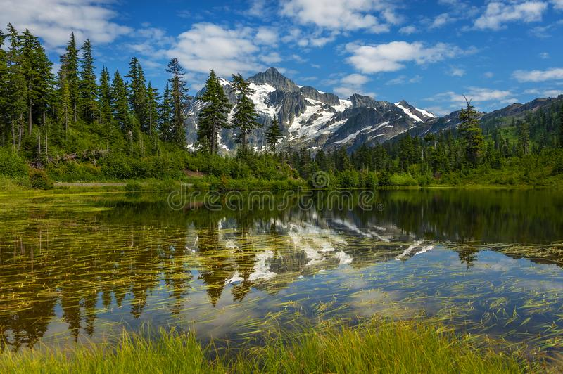 Picture Lake with Mt. Shuksan, Washington state. stock images