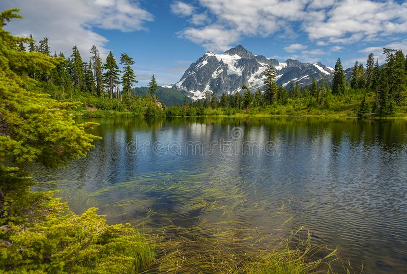 Picture Lake with Mt. Shuksan, Washington state. Picture Lake is the centerpiece of a strikingly beautiful landscape in the Heather Meadows area of the Mt stock photo
