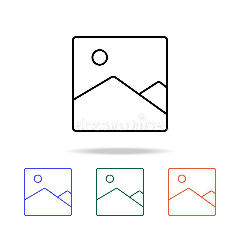 Picture landscape icon. Elements of simple web icon in multi color. Premium quality graphic design icon. Simple icon for websites. Web design, mobile app, info royalty free illustration