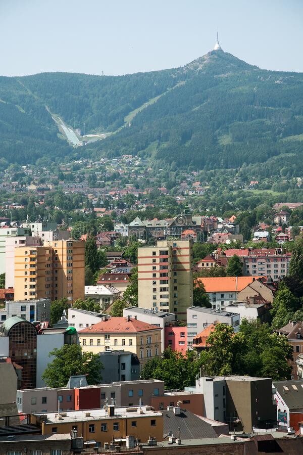 A picture of Liberec from the Town Hall Tower royalty free stock photography