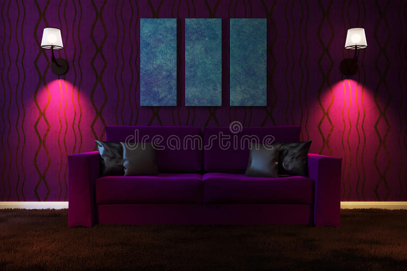 Picture living room with artificial lighting made in dark colors. royalty free illustration
