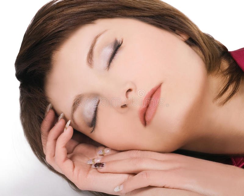 Picture of lovely young sleeping woman stock photography
